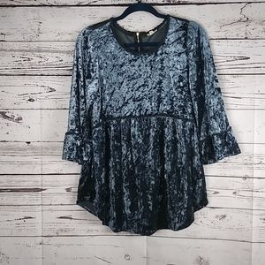 POL blue crushed velvet babydoll top size large